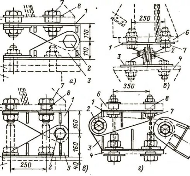 Схема шарнира для установки стальных опор ВЛ 35-500 кВ